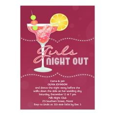If you are looking for a Bachelorette invitations, then this Elegant Girls Night Out Drink Invitation Card is perfect for you, and it's totally customizable!