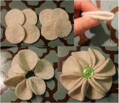 Artes com Capricho: Arranjo flores de feltro e tecido