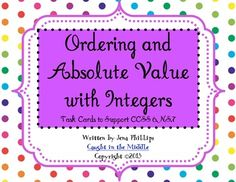CCSS Task Cards 6.NS.7 Ordering and Absolute Value with Integers