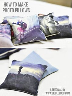 how to make photo pillows! Got to do I love pillows and photos, 2 together is dangerous! :)