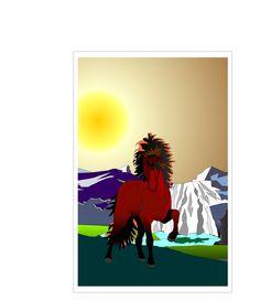 Roodvos hengst voor hooglandgletsjer