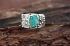 Rough Diamond Apatite Ring Sterling Silver Raw by ManariDesign, $243.00