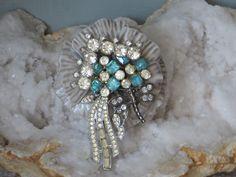 FLOWER BROOCH/ Dragonfly/ Repurposed Brooch/ Rhinestones/ Blue/ Silver/ Vintage/ Vintage Repurposed/ Flowers/ Hat Pin/ Bling Jewelry by LadyAnnesCloset on Etsy