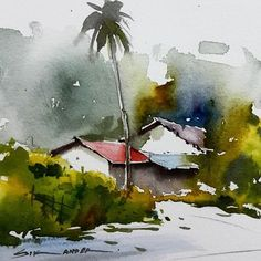 Related image Watercolor Architecture, Watercolor Landscape Paintings, Watercolor Trees, Watercolor Sketch, Watercolor Illustration, Abstract Landscape, Watercolour Painting, Watercolors, Landscape Architecture