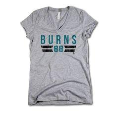 Brent Burns NHLPA Officially Licensed San Jose Womens V-Neck S-2XL Brent Burns Font T