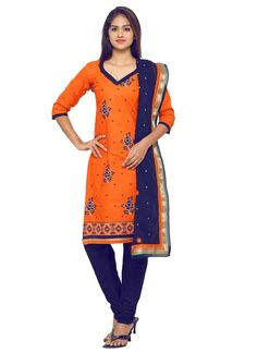 #Orange #Cotton #Straight Cut #Suit #nikvik  #usa #designer #australia #canada #freeshipping #dress #suits #pakistani