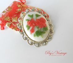 Vintage 1950's Carved Celluloid Flower by PegsVintageJewellery