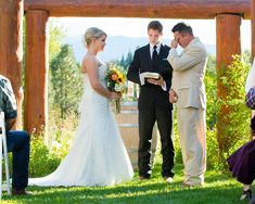The groom teared up upon seeing his bride.   Venue: Pine River Ranch  Dress Store/Shoes: David's Bridal   Hairstylist: Maria Gay of Third Dimension Salon   Groom and Groomsmen Attire: Men's Wearhouse   Floral Designer: Fife Flowers