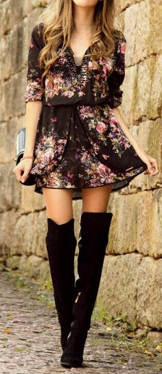 Black knee high boots and pretty floral dress! Swoon!