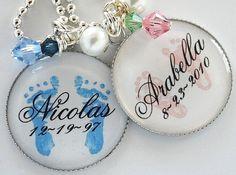 Birth bottlecap necklaces