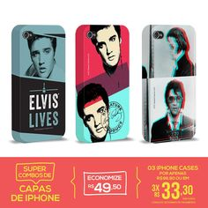 Kit Com 3 Capas de iPhone 4/4S Elvis Presley Forever