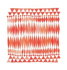 groove.print by Twamies, elongated diamonds and triangles in orange red watercolors
