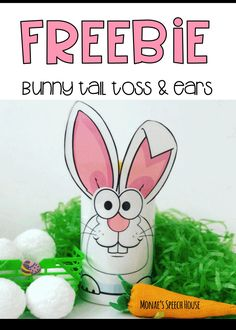 FREE! Do you like fun FREEBIES? This bunny activity is perfect as a simple activity during speech therapy or as a classroom activity. Perfect for busy SLPs. Students will enjoy this! Can be used as a reinforcer too. These are perfect for speech therapy, special education, autism, kindergarten, 1st, 2nd, 3rd, 4th, & 5th graders. Spring and Easter game. {preK, Kinder, speech therapy, gen ed} Uses empty plastic wipes container!