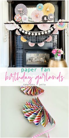 Create a two sizes of birthday garlands in minutes using your favorite scrapbook paper. Create a two sizes of birthday garlands in minutes using your favorite scrapbook paper. Diy Garland, Diy Wreath, Craft Party, Diy Party, Party Ideas, Paper Fan Decorations, Paper Garlands, Paint Chip Art, Paint Chips