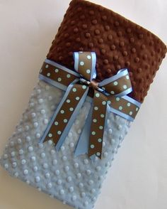 Handsome minky dot baby blanket in Chocolate by TheSleepingBabe, $28.00