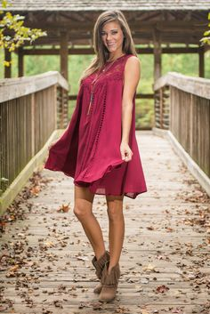 Romantically Involved Dress, Burgundy - The Mint Julep Boutique