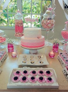 Pink and white treats at a baby shower! See more party ideas at CatchMyParty.com!