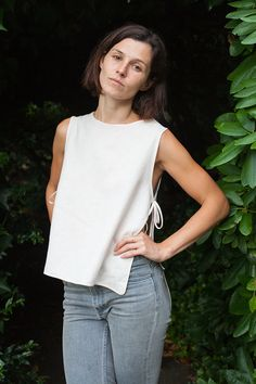 Linen apron tank top tutorial