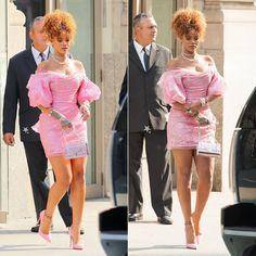 Rihanna wearing Vivienne West Red Label Fall 2015 pink lace dress, Christian Louboutin pink So Kate pumps, Christian Dior Diorama metallic handbag