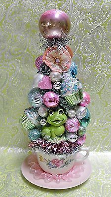 RESERVED-Pink-Decorated-Bottle-Brush-Tree-Green-Frog-Cupcakes-Pink-Cottage-Chic