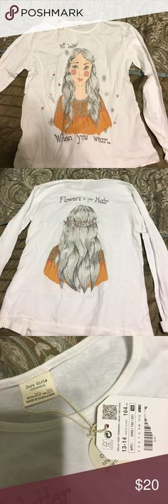 Long sleeve graphic tee Zara      it's better when you wear flowers in your hair  shirt. Brand new with tags Zara Shirts & Tops Tees - Long Sleeve