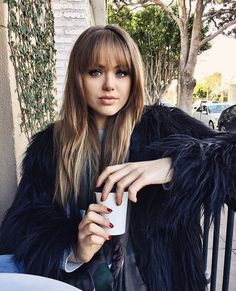 Gorgeous And Cute Wispy Bangs Styles You Should Try; Cute Bangs And Buns Styles; Curly Hair With Bangs, Wispy Bangs, Hairstyles With Bangs, Curly Hair Styles, Gorgeous Hairstyles, Hair Bangs, Kristina Bazan, How To Style Bangs, Hair Color And Cut
