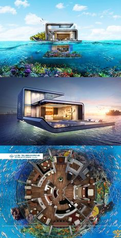 Live Right Next to Sharks With These Amazing Underwater Structures Underwater Hotel Room, Titanic Underwater, Underwater Plants, Underwater City, Underwater Hair, Underwater Tattoo, Underwater Drawing, Underwater Birthday, Floating Architecture