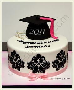 graduation cake   Damask Design Graduation Cake