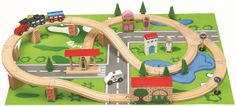 Traditional Toys - Wooden Train & Car play set - 50 pcs, available to buy now for £34.99. Free UK mainland shipping.