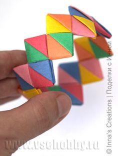 готовый оригами браслет ручной работы из фантиков от конфет или цветной бумаги