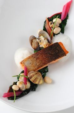 Alan Murchison's sea trout recipe results in a refreshing dish which sources the best of British coastal produce. Alan Murchison's sea trout recipe results in a refreshing dish which sources the best of British coastal produce. Sea Trout Recipes, Clam Recipes, Gourmet Recipes, Seafood Recipes, Gourmet Desserts, Gourmet Foods, Plated Desserts, Pasta Recipes, Cooking Recipes
