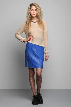 Vintage '80s Blue Zebra Stripe Leather Skirt  #UrbanOutfitters