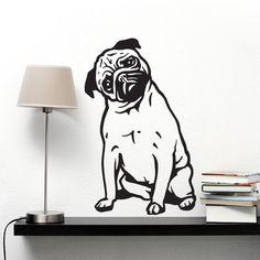 Naklejka ścienna, na auto Pies Mops Refleksja - Psiakrew - Naklejki na ścianę