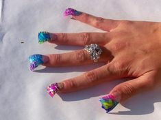 """<b>Behold, the manicure that results in """"duck feet"""" nails.</b> If you picture these nails scratching a chalkboard, I guarantee you Crazy Nail Art, Crazy Nails, Weird Nails, New Nail Designs, Beautiful Nail Designs, Flared Nail Designs, Bad Nails, Long Nails, Duck Feet Nails"""