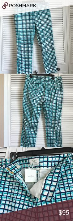 """Kate Spade Mindy Pant NWT Mindy pant pixie ankle, fashion brezeblock print, navy/turquoise/sea green/off white colored. Belt looped waist, 96% cotton/4% spandex. Dry clean only. 16 3/4"""" waist, inseam approximately 25 1/2"""" rise 10"""", comes with extra button. Zip down/clasp and button closure. Front pockets are functional but are sewn now. kate spade Pants"""