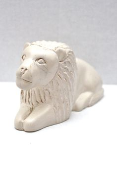 vintage carved white marble lion // made in Kenya by RedTuTuRetro, $35.00