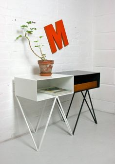 'Robot' steel side table designed by &New. Made in England.