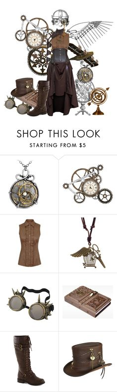 """""""Steampunk.Flyaway."""" by boldag ❤ liked on Polyvore featuring Overland Sheepskin Co., Punk, steampunk, gear and steam"""