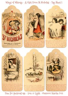 Wings of Whimsy: A Visit From St. Nicholas - 12 Printable Tags - free for personal use #vintage #victorian #bookpage #printable