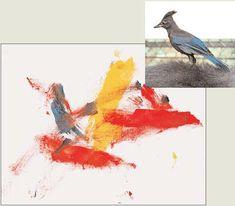 "Koko's painting ""Bird"" and its model"
