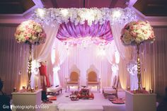 The Indian wedding ceremony takes place! One of our Fav Mandaps! Coordinated by Touch of Elegance NY