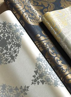 Ronald Redding for York Wallcoverings in metallic and glass beads. Luminous and beautiful in silver, navy and gold. The Designer Damasks Collection