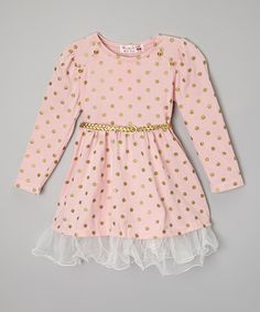 Another great find on #zulily! Pink & Gold Polka Dot A-Line Dress - Infant, Toddler & Girls by Adorable Essentials #zulilyfinds