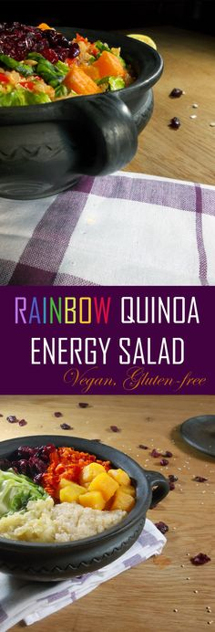 RAINBOW QUINOA ENERGY SALAD -- This dish is filled with proteins and good stuff, excellent for long days out of the house when you need to keep your stomach full, and your energies and spirits up! Quinoa, Salads, Protein, Rainbow, Vegan, Dishes, House, Food, Rain Bow