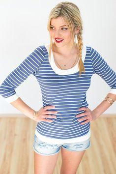 """Longsleeves - Maritimes Shirt """"Munchie"""" in blau weiß gestreift  - ein Designerstück von Shoko bei DaWanda"""