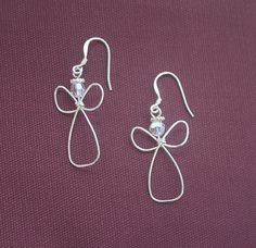 Angel Earrings- Swarovski crystals- April Birthstone- Wire Angel Earrings