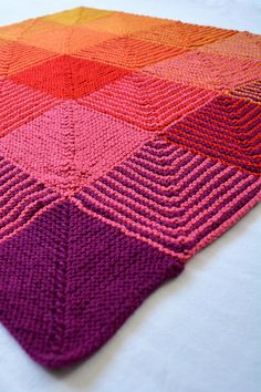 Square 1 of the Hue Shift Blanket - warm colors by Lovely Wren