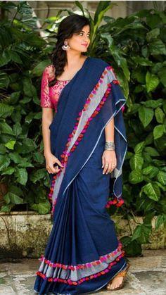 Saree tassels fashion Y. Lace Saree, Saree Tassels, Cotton Saree, Saree Blouse, Modern Saree, Sari Blouse Designs, Simple Sarees, Saree Photoshoot, Saree Trends