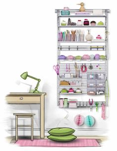 Elfa Craft Storage Solution - a place for everything. company who does the gift wrap door rack solution Craft Storage Cabinets, Craft Room Storage, Wall Storage, Craft Room Decor, Craft Room Design, Home Decor, Craft Room Ideas On A Budget, Craft Ideas, Decor Ideas