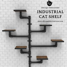 Industrial Cat Shelf - If you're looking for a functional, decorative, and space-saving cat climber, this cat shelf is p - Industrial Interior Design, Industrial House, Industrial Shelving, Industrial Style, Cat Wall Shelves, Diy Pipe Shelves, Cat Climber, Diy Cat Tree, Regal Design
